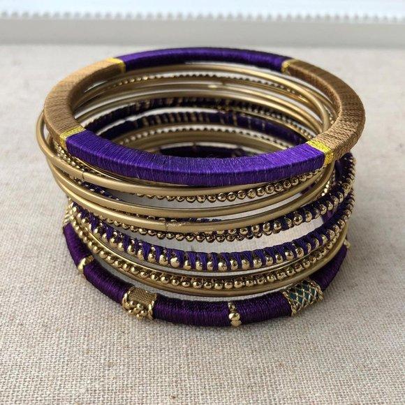 12pcs Indian Chura Gold Indigo Bangle Bracelet set